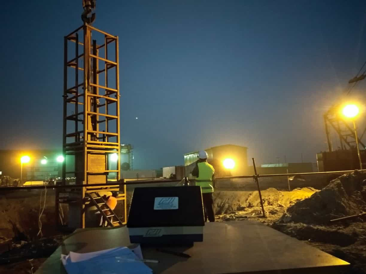 Khulna-Mongla Railway Project, Rupsha Bridge high strain dynamic testing of pile.